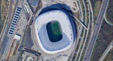 Allianz,Arena,Stadium,Fc,Bayern,Munich,,Looking,Down,Aerial,View